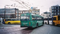 Trolleybus leaving the bus station.